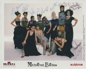 MEDIAEVAL BAEBES original gloss photograph AUTOGRAPHED by band promo signed.
