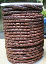 Top Quality Braided Leather Cord 7mm  Antique Brown Genuine Real Leather