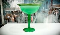 Gilded Northwood JADE GREEN Rainbow Line #705 ca 1920s Opaque Glass Compote