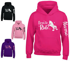 Childrens Personalised Glitter Horse Riding Hoodie Equestrian Hoody Arm Print