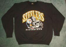Vtg 90s Pittsburgh Steelers Sweatshirt Crew Neck Mens Xl Nfl 50/50 Black Helmet