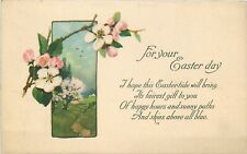 Antique Db Postcard J462 For Your Easter Day Poem Dogwood Blossoms Flowers