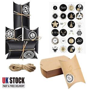 24Pcs Christmas Advent Calendar Boxes Stickers Twine Kit Xmas Gift Bag Countdown