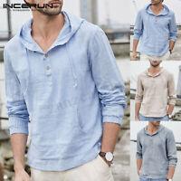 Summer Mens Long Sleeve Striped Hoodies Baggy Beach Causal Tops Loose T Shirt UK