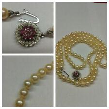 COLLAR DE PERLAS SERIE 750 Oro Cierre Akoya Perlas Collar perlas 90cm con rubí