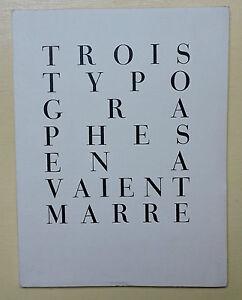 GLM. TROIS TYPOGRAPHES EN AVAIENT MARRE. G. LEVIS-MANO. G. DUCHENE. R. BONON NUM