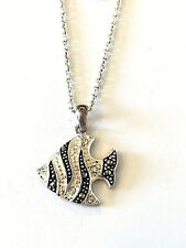 Tropical Zebra Fish Sterling Silver Necklace Zirconia Stones Pendant and Chain
