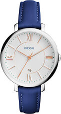 Fossil ES3986 Jacqueline White Dial Indigo Leather Strap Women's Watch