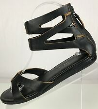 e5fbcff7b93 Cole Haan Kimry Strappy Sandal Gladiator- Open Toe Black Back Zip Flat  Womens 5C