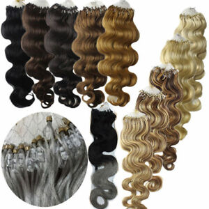 20Inch Ombre Wavy&curly Loop Micro Ring Silicone Bead Remy Human Hair Extensions