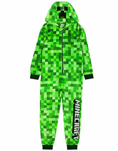 Minecraft All In One Pyjamas Pixelated Creeper Sleepsuit Gamer Gift For Boys