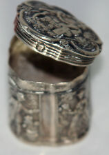 Original ANTIQUE c1800's~~ STERLING SILVER Solid THIMBLE CASE w/ DETAILED DESIGN