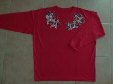 Damen T Shirt-Bluse 40-42-44 M-L Perlen Strasssteine bestickt Langarm-Shirt rote