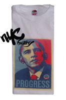 Obama Progress T-shirt White Tee President Retro Tee USA