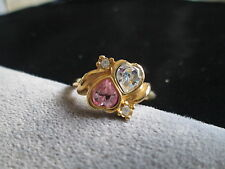 AVON VINTAGE*SIZE 10**TWO HEARTS RING**PINK AND CLEAR CRYSTALS**NIB** GOLD-TONE