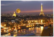 'Eiffel Tower/Paris moon at Night' France/French Poster/Approximately13x19 inch