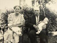 1940's Grandparents & Infants Babies  Photo Black White Antique Snapshot