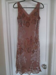 Ladies Blush Pink Floral Print Velvet Devore Sleeveless Dress size 14/16 M&S