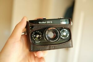 [MINT] CLA'd Rollei 35 S Black With Brown Leather Case + Original Carrying Case