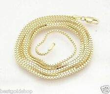 "30"" 1.1mm Classic Venetian Box Chain Necklace Real Solid 10K Yellow Gold"