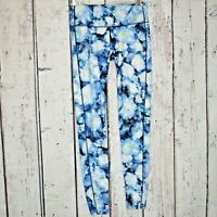 Athleta Pants Blue Floral Crush Chaturanga Tight Leggings Sz S Tall Flower EUC