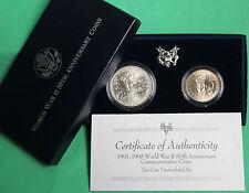 1991-95 BU WWII 50th Anniversary 90% Silver Dollar and Half 2 Coin WW2 1993 UNC