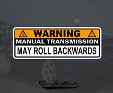 "Warning Manual Transmission Bumper Sticker Decal Stick Shift  Car JDM Funny 6"""