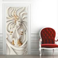 3D Wall Art Beauty Girl Statue Door Sticker PVC Decal Self-adhesive Wrap Mural