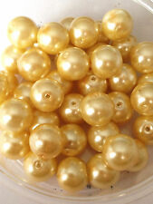 10mm Glass faux Pearls - Champagne Gold (40 round beads) jewellery making, craft