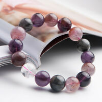 13mm Genuine Natural Colorful Auralite 23 Cacoxenite Round Beads Bracelet AAA