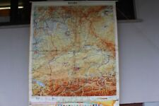 Old Schulwandkarte Role Map Wall Chart Bavaria Geographisch Vintage 1970er