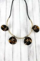 Tortoise shell and beaded gold tone petal necklace