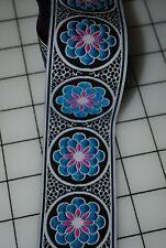 Jacquard Woven Blue Flower Ribbon 2 inch wide - 1 5/8 yds Black Trim