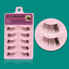 5 Pairs Lot 100% Clear Band Mink Cross Thick False Eyelash 3D Fake Eye Lashes