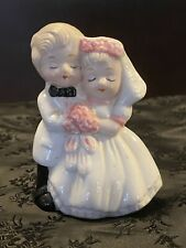 "Vintage Porcelain Bride and Groom Wedding Cake Topper 4"" (12G)"