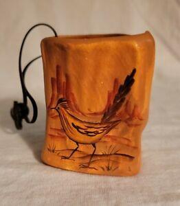 "Vtg 2.25"" Sandstone Creations Navajo Hand Painted USA Vase Road Runner"