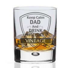 Keep Calm Dad Whiskey Glass Tumbler Fathers Day,Birthday Whisky Bar Gift For Him