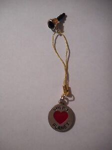 Save our planet cell phone dust plug charm-gold w/green rhinestone-gold cord