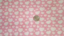 CUTE WHITE HEARTS ON PINK COTTON WAFFLE KNIT FABRIC OOP