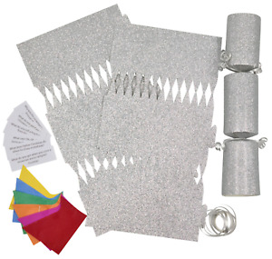 6 Make Your Own Christmas Cracker kit Crackers Hats Snaps SILVER GLITTER