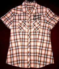 Harley Davidson Ladies Shirt Short  Sleeve Western Brown Orange Plaid Small EUC