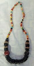 "SINGLE STRAND  MULTI COLOUR WOOD SHAPES NECKLACE 28"" LONG"
