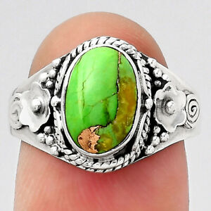 Copper Green Turquoise - Arizona 925 Sterling Silver Ring s.8 Jewelry 9562