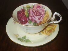 Three Cabbage Roses Wide Mouth Tea Cup and Saucer Aynsley