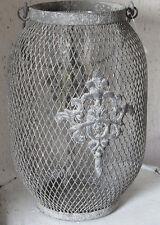 Windlicht grau, Landhaus, mit Glaseinsatz,Vintage, 22,5cm,Metall