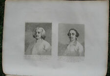 "1822 Hogarth Folio Engravings - ""Henry Fox, Lord Holland"" and ""James Caulfield"""