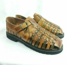 Stacy Adams Youth Boys Brown Geuine Leather Sandals Size 4 New Fisherman Weaved