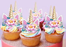 24 STAND UP MINI UNICORN GOLD HORN EARS EDIBLE FAIRY CUPCAKE CAKE IMAGES TOPPERS