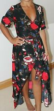 PRETTY LITTLE THING BLACK RED ROSE PRINT WRAP MAXI DRESS SIZE 10