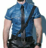 MEN'S REAL LEATHER Blue Police Military Style Shirt  BLUF ALL SIZE Shirt